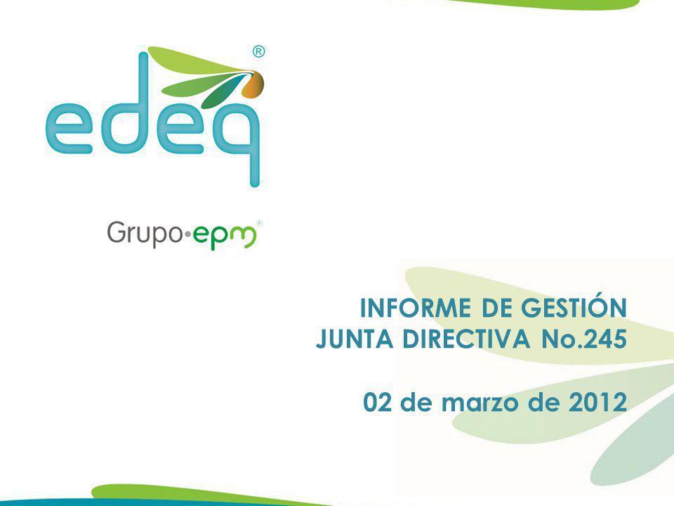 Composición de las Cuentas por Cobrar Enero de 2012 Valores en Millones de pesos DESCRIPCIÓNDic-11Ene-12VARIACIÓN $VARIACIÓN % CUENTAS POR COBRAR - SERVICIO ENERGIA 11.708 12.718 1.0108,63% Activa Corriente (0-30 días) 7.071 7.925 85312,06% Saldos Financiados 2.405 2.398 (7)-0,31% Subtotal Activa Corriente 9.477 10.322 8468,92% Activa Vencida (>31 días) 957 1.109 15215,93% Inactiva 1.274 1.287 120,97% Subtotal Vencida y cartera inactiva 2.231 2.396 1657,39% 02/03/2012 Ing.