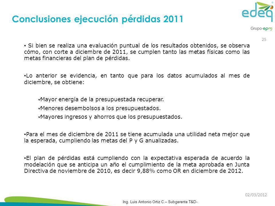 Conclusiones ejecución pérdidas 2011 Si bien se realiza una evaluación puntual de los resultados obtenidos, se observa cómo, con corte a diciembre de