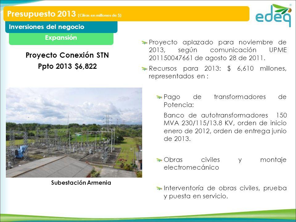 Proyecto aplazado para noviembre de 2013, según comunicación UPME 201150047661 de agosto 28 de 2011. Recursos para 2013: $ 6,610 millones, representad
