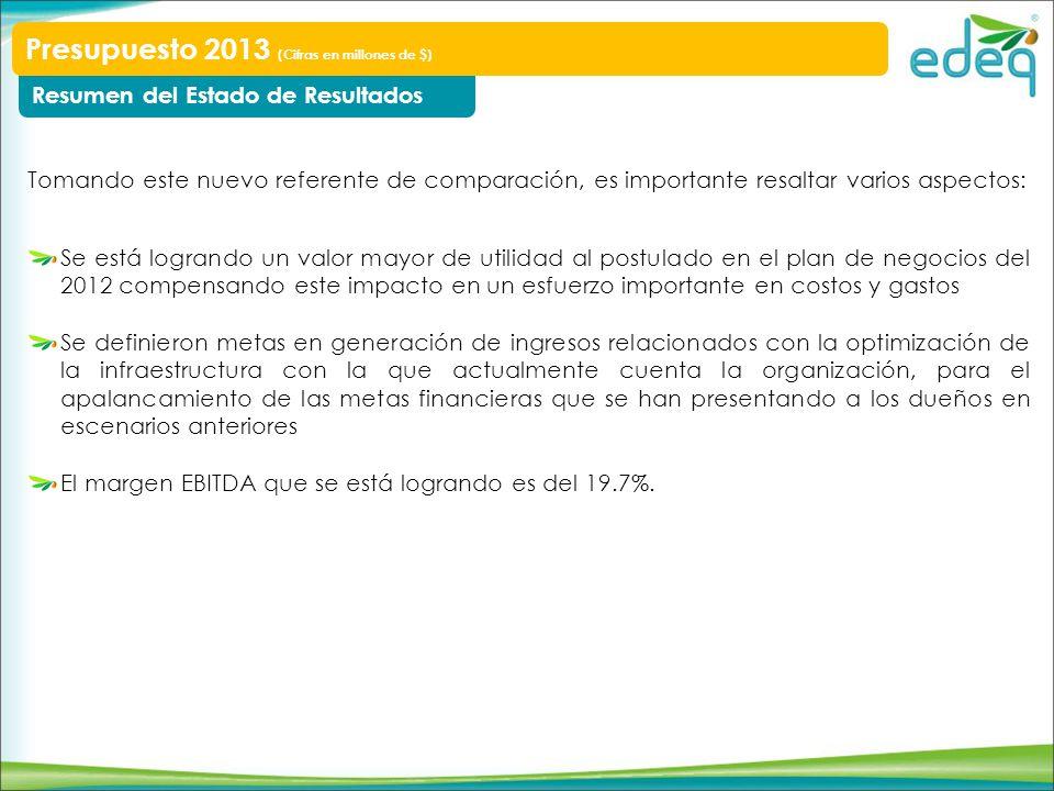 Electrificación Rural Inversiones del negocio Presupuesto 2013 (Cifras en millones de $) Ppto 2013 88 165 88% Proyección cierre 2012 Ppto ajustado 2012 88 100% Desviación frente a proyección de cierre Ejecución 2012