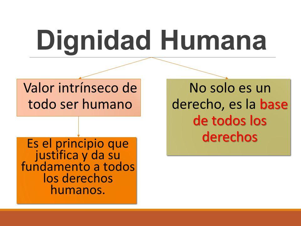 Valor intrínseco de todo ser humano Dignidad Humana Es el principio que justifica y da su fundamento a todos los derechos humanos. base de todos los d