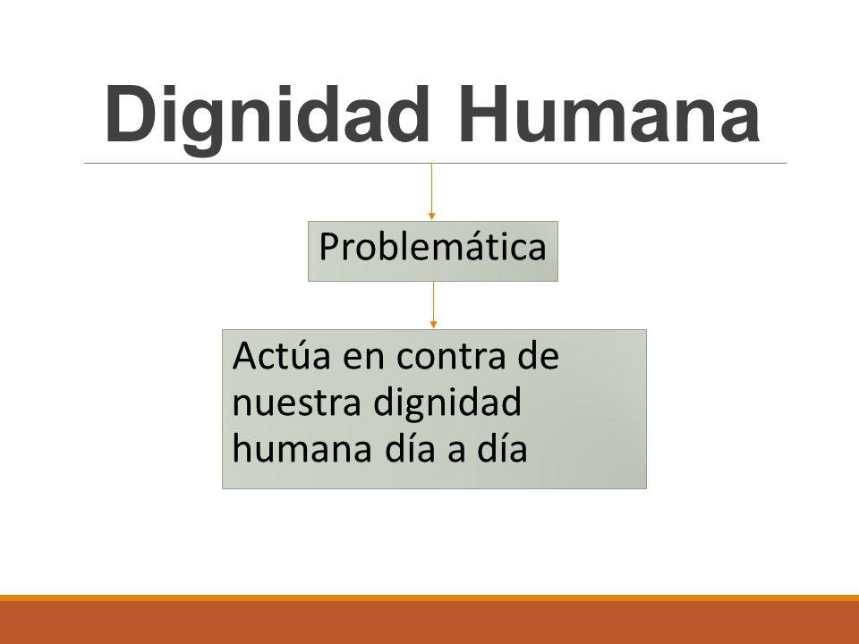 Problemática Dignidad Humana Actúa en contra de nuestra dignidad humana día a día