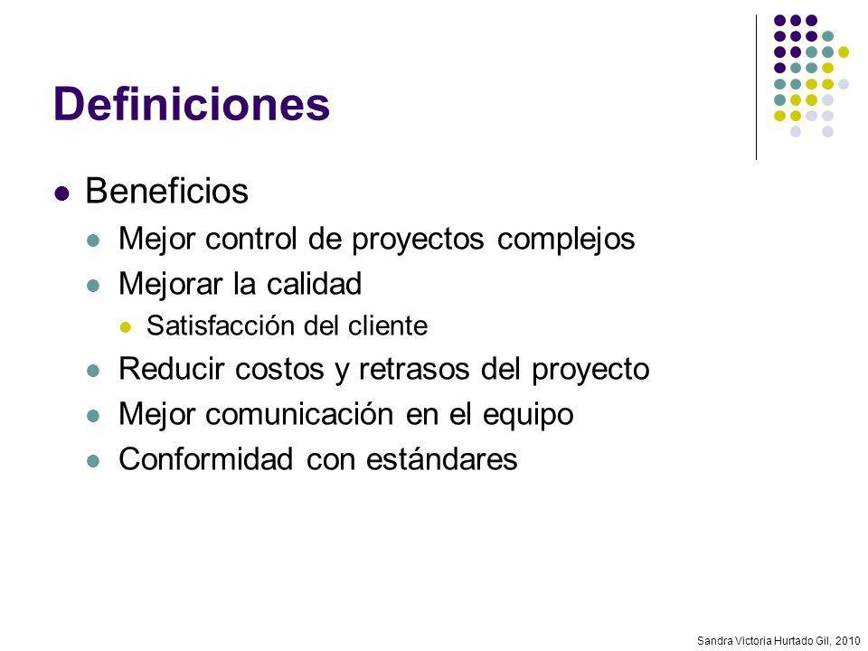Sandra Victoria Hurtado Gil, 2010 Definiciones Beneficios Mejor control de proyectos complejos Mejorar la calidad Satisfacción del cliente Reducir cos