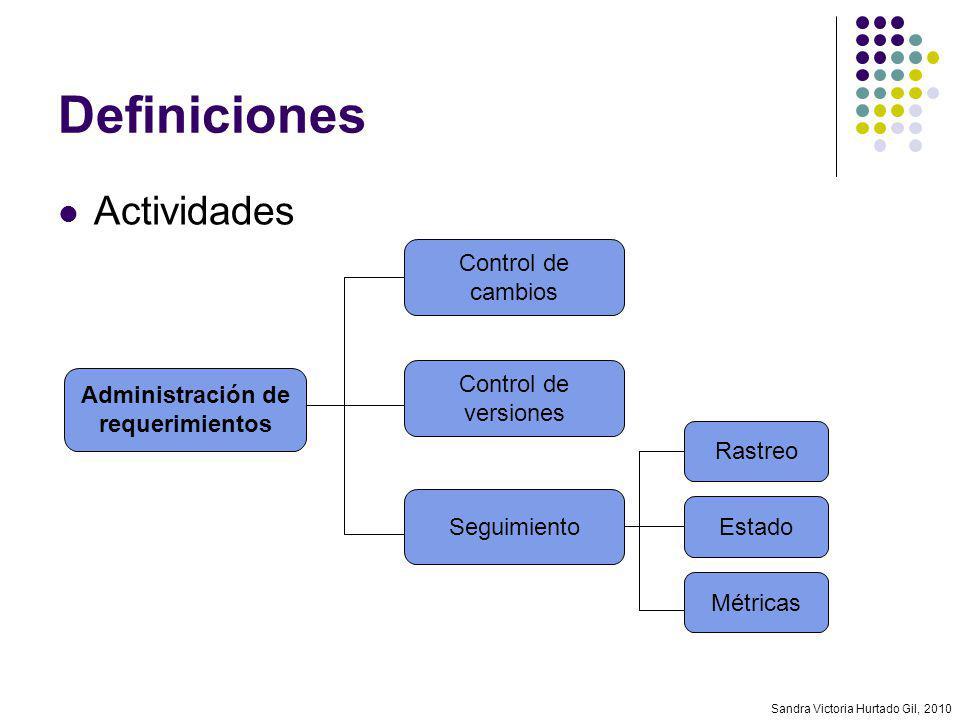 Sandra Victoria Hurtado Gil, 2010 Definiciones Actividades Administración de requerimientos Control de cambios Control de versiones Seguimiento Rastre