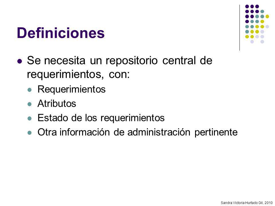 Sandra Victoria Hurtado Gil, 2010 Definiciones Se necesita un repositorio central de requerimientos, con: Requerimientos Atributos Estado de los reque