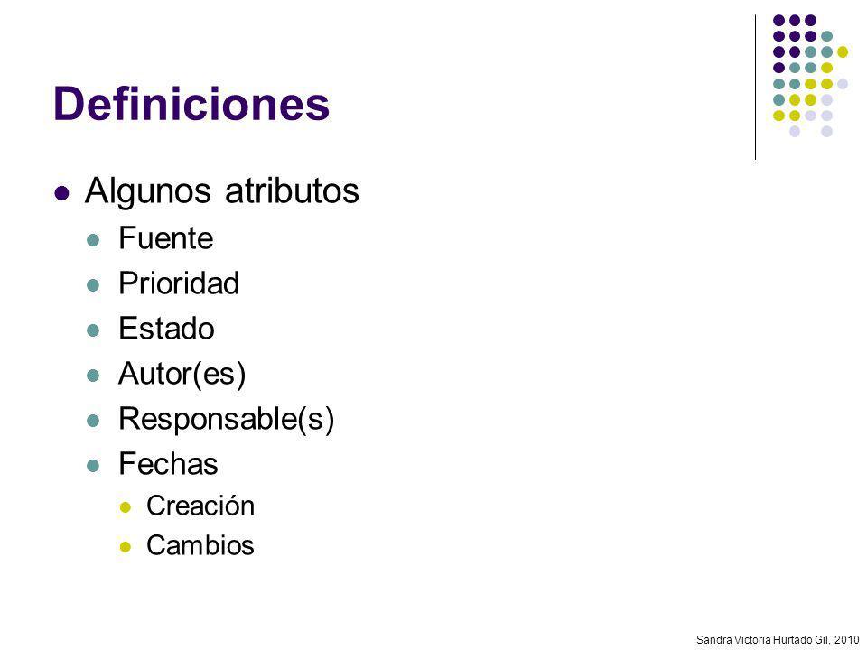 Sandra Victoria Hurtado Gil, 2010 Definiciones Algunos atributos Fuente Prioridad Estado Autor(es) Responsable(s) Fechas Creación Cambios
