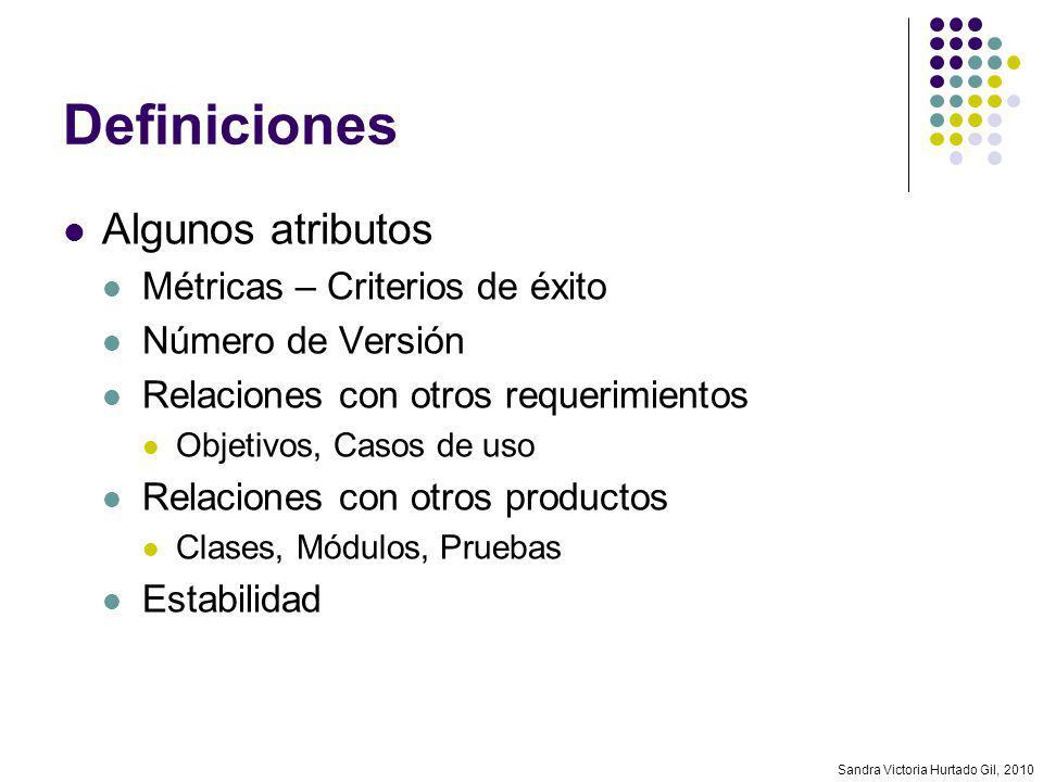Sandra Victoria Hurtado Gil, 2010 Definiciones Algunos atributos Métricas – Criterios de éxito Número de Versión Relaciones con otros requerimientos O