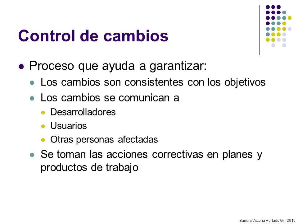 Sandra Victoria Hurtado Gil, 2010 Control de cambios Proceso que ayuda a garantizar: Los cambios son consistentes con los objetivos Los cambios se com