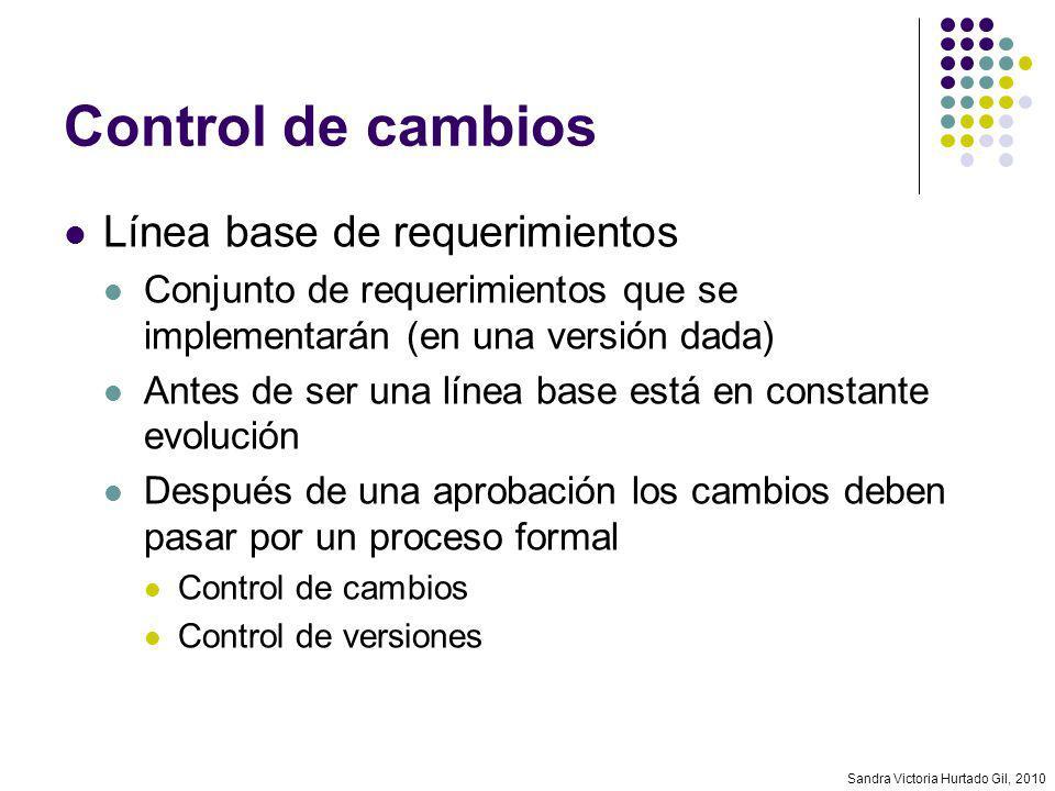 Sandra Victoria Hurtado Gil, 2010 Control de cambios Línea base de requerimientos Conjunto de requerimientos que se implementarán (en una versión dada