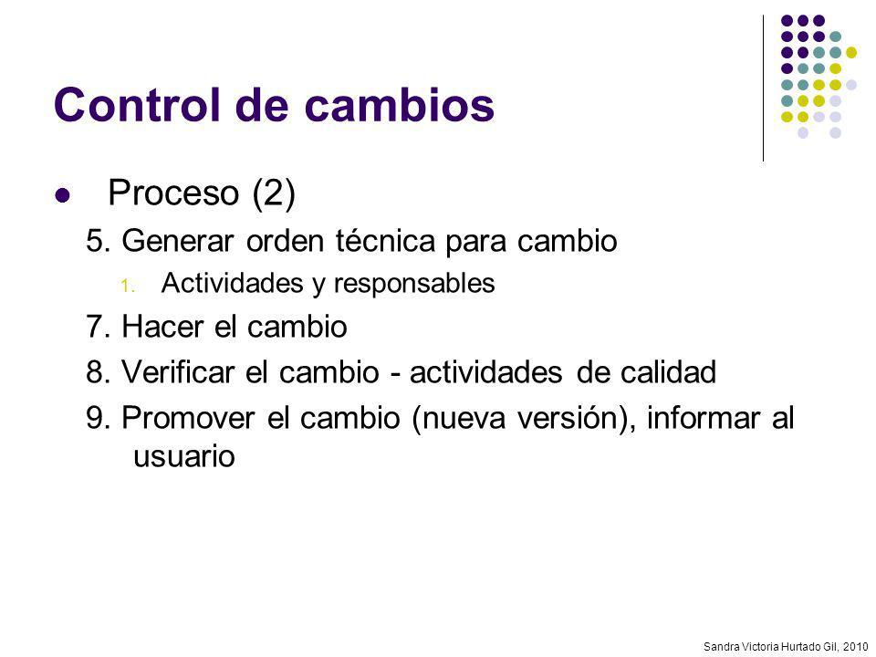 Sandra Victoria Hurtado Gil, 2010 Control de cambios Proceso (2) 5. Generar orden técnica para cambio 1. Actividades y responsables 7. Hacer el cambio