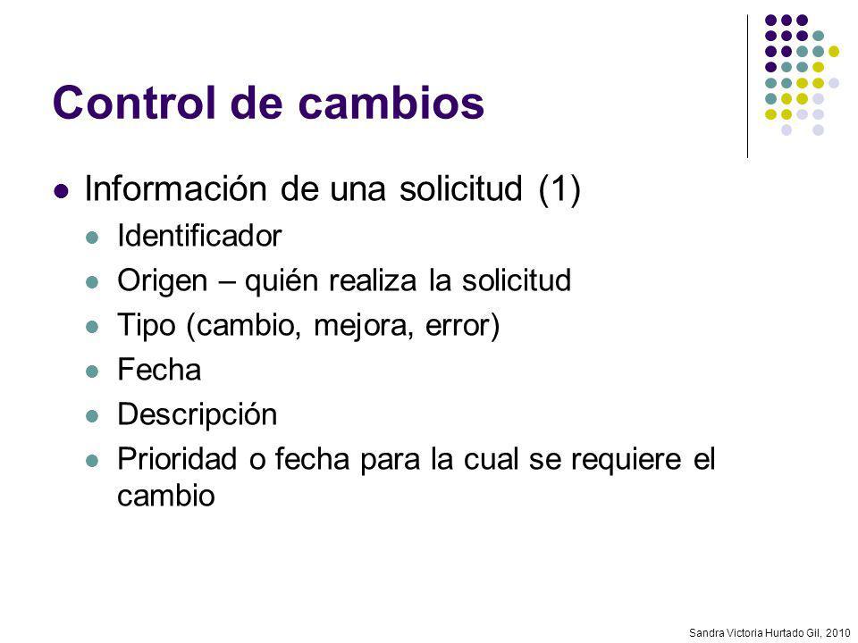Sandra Victoria Hurtado Gil, 2010 Control de cambios Información de una solicitud (1) Identificador Origen – quién realiza la solicitud Tipo (cambio,