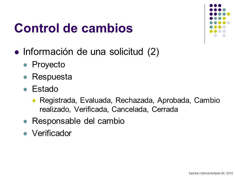 Sandra Victoria Hurtado Gil, 2010 Control de cambios Información de una solicitud (2) Proyecto Respuesta Estado Registrada, Evaluada, Rechazada, Aprob