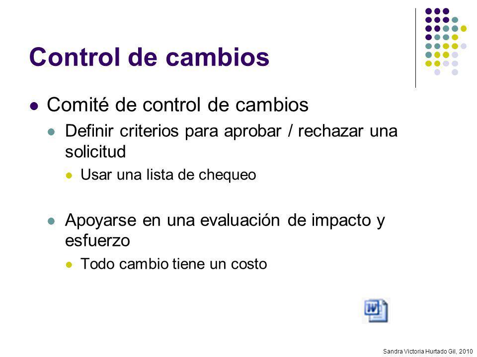 Sandra Victoria Hurtado Gil, 2010 Control de cambios Comité de control de cambios Definir criterios para aprobar / rechazar una solicitud Usar una lis