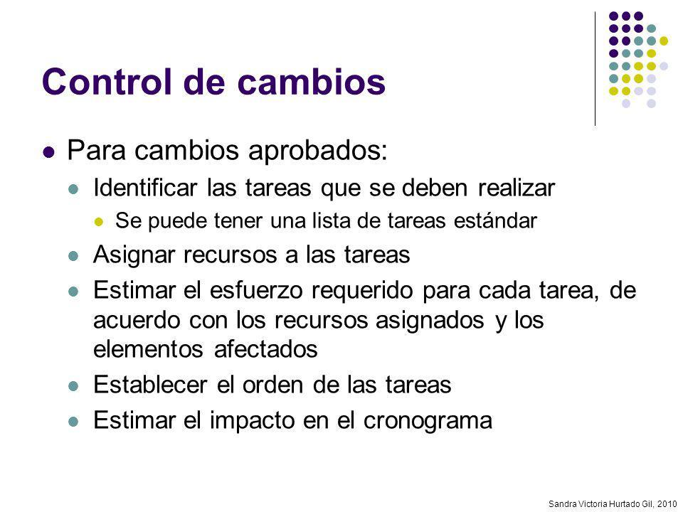 Sandra Victoria Hurtado Gil, 2010 Control de cambios Para cambios aprobados: Identificar las tareas que se deben realizar Se puede tener una lista de