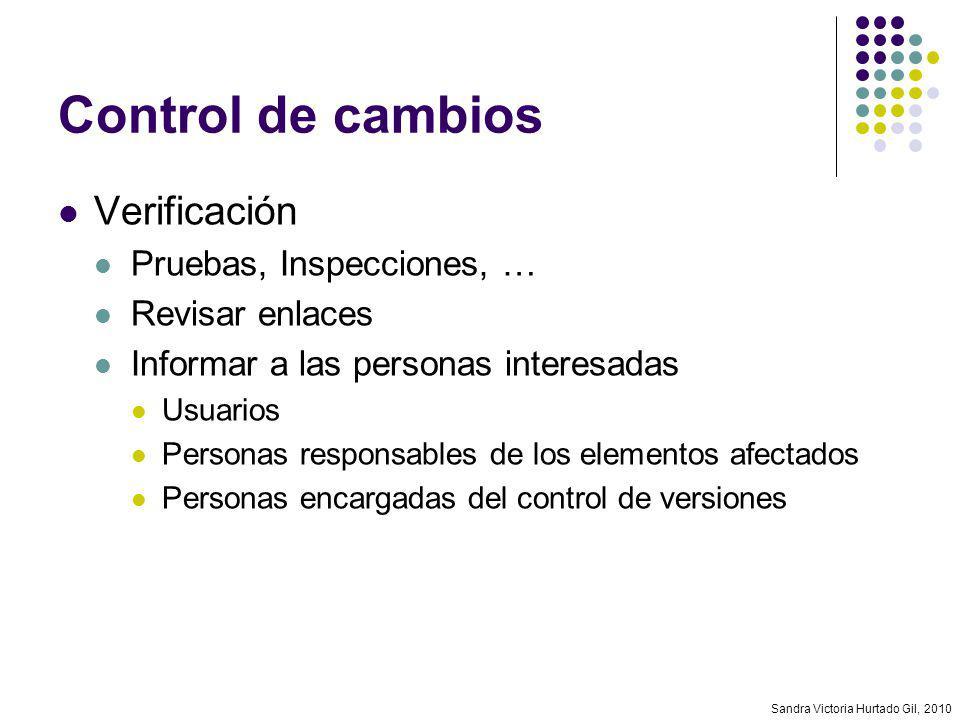 Sandra Victoria Hurtado Gil, 2010 Control de cambios Verificación Pruebas, Inspecciones, … Revisar enlaces Informar a las personas interesadas Usuario