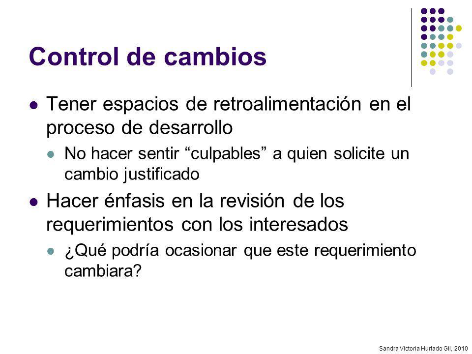 Sandra Victoria Hurtado Gil, 2010 Control de cambios Tener espacios de retroalimentación en el proceso de desarrollo No hacer sentir culpables a quien