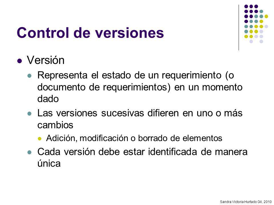 Sandra Victoria Hurtado Gil, 2010 Control de versiones Versión Representa el estado de un requerimiento (o documento de requerimientos) en un momento