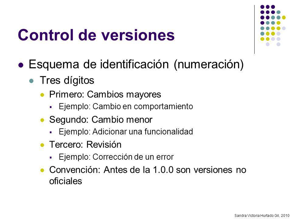 Sandra Victoria Hurtado Gil, 2010 Control de versiones Esquema de identificación (numeración) Tres dígitos Primero: Cambios mayores Ejemplo: Cambio en