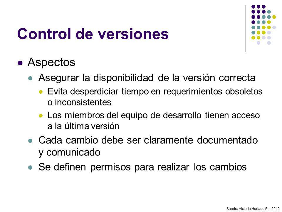 Sandra Victoria Hurtado Gil, 2010 Control de versiones Aspectos Asegurar la disponibilidad de la versión correcta Evita desperdiciar tiempo en requeri