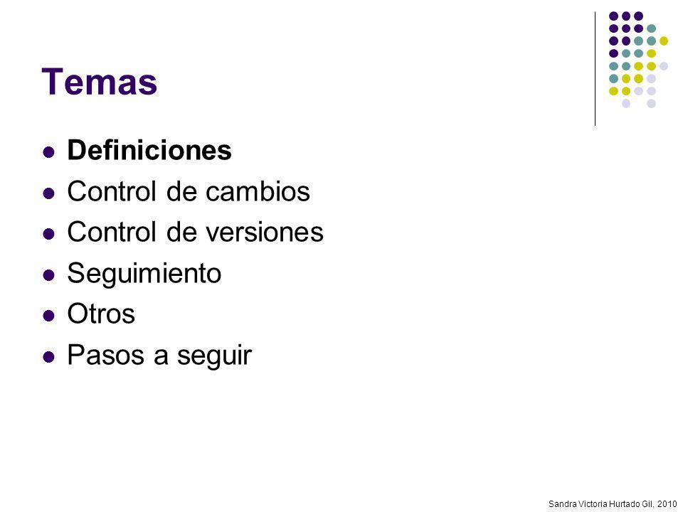 Sandra Victoria Hurtado Gil, 2010 Definiciones Los requerimientos cambian constantemente Nuevas regulaciones Especificaciones con errores Nuevas necesidades Cambios en el negocio Cambios en el proyecto