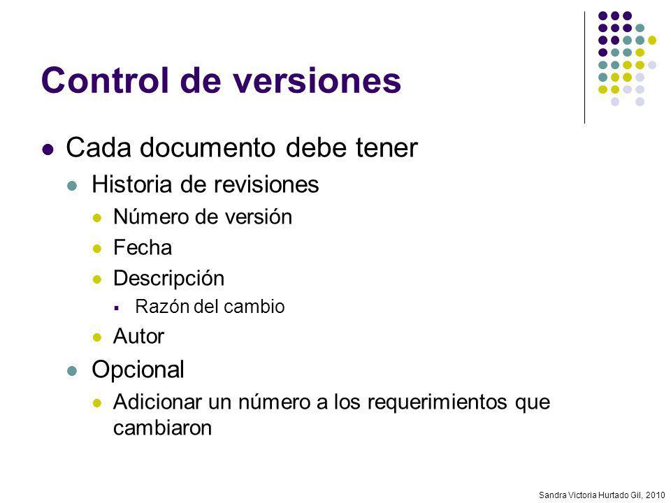 Sandra Victoria Hurtado Gil, 2010 Control de versiones Cada documento debe tener Historia de revisiones Número de versión Fecha Descripción Razón del