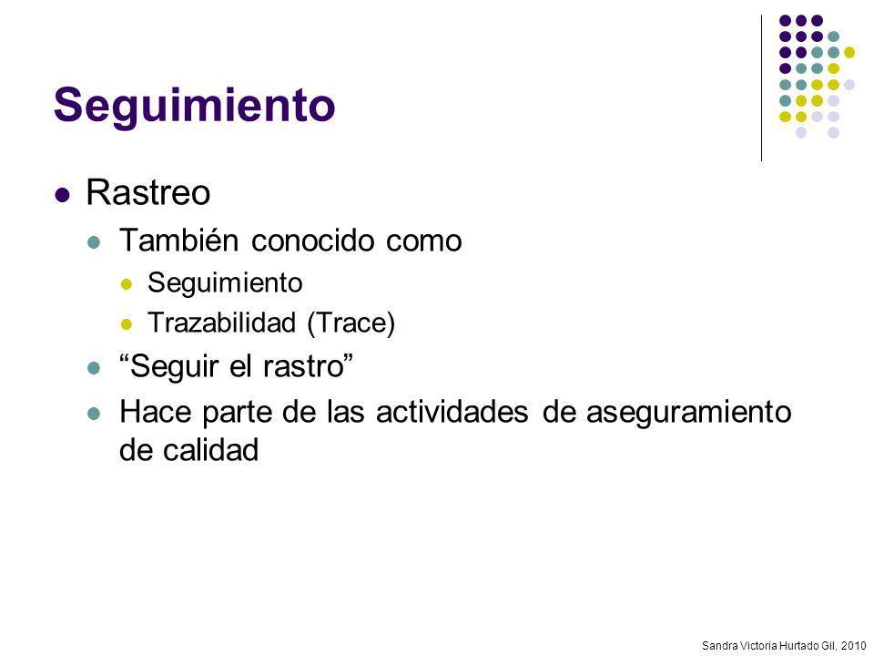 Sandra Victoria Hurtado Gil, 2010 Seguimiento Rastreo También conocido como Seguimiento Trazabilidad (Trace) Seguir el rastro Hace parte de las activi