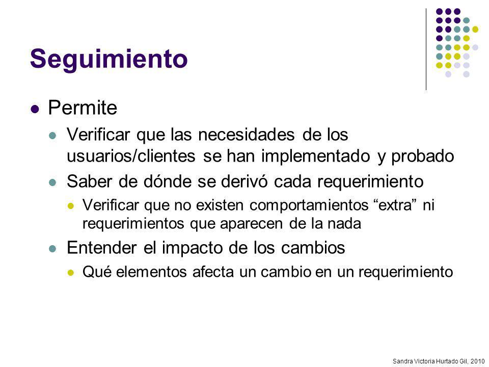 Sandra Victoria Hurtado Gil, 2010 Seguimiento Permite Verificar que las necesidades de los usuarios/clientes se han implementado y probado Saber de dó
