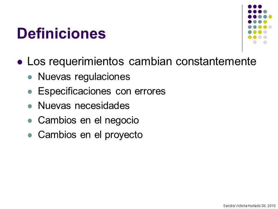 Sandra Victoria Hurtado Gil, 2010 Definiciones Los requerimientos cambian constantemente Nuevas regulaciones Especificaciones con errores Nuevas neces