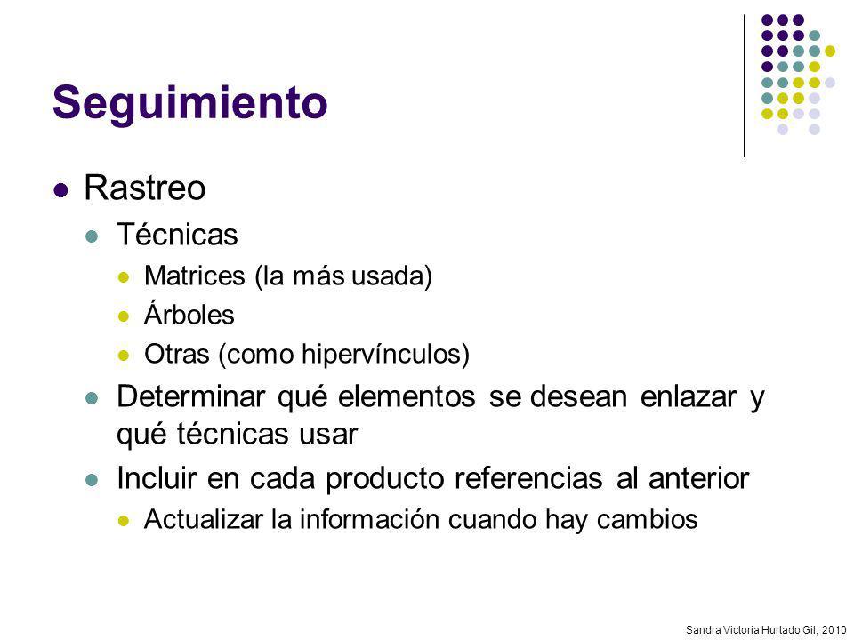 Sandra Victoria Hurtado Gil, 2010 Seguimiento Rastreo Técnicas Matrices (la más usada) Árboles Otras (como hipervínculos) Determinar qué elementos se