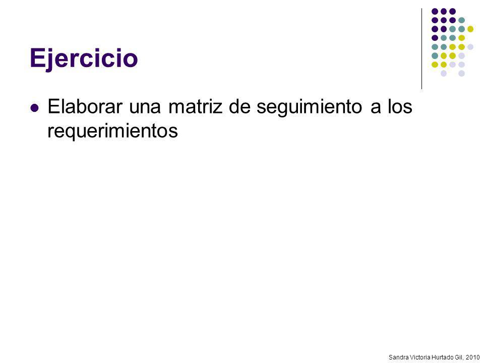 Sandra Victoria Hurtado Gil, 2010 Ejercicio Elaborar una matriz de seguimiento a los requerimientos