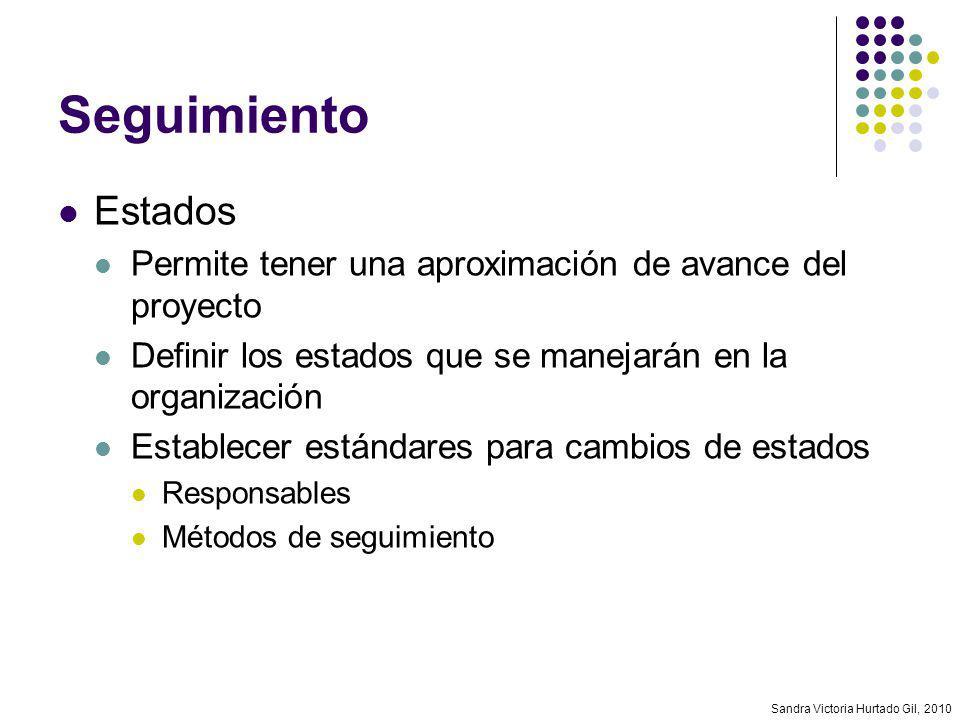 Sandra Victoria Hurtado Gil, 2010 Seguimiento Estados Permite tener una aproximación de avance del proyecto Definir los estados que se manejarán en la