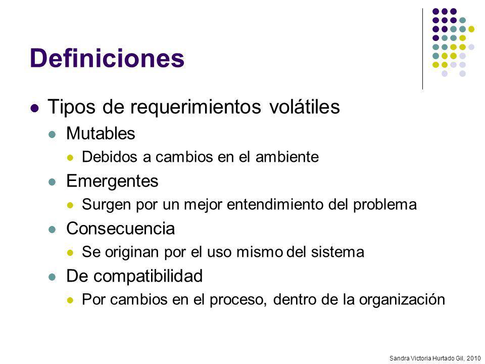 Sandra Victoria Hurtado Gil, 2010 Control de versiones Versión Representa el estado de un requerimiento (o documento de requerimientos) en un momento dado Las versiones sucesivas difieren en uno o más cambios Adición, modificación o borrado de elementos Cada versión debe estar identificada de manera única