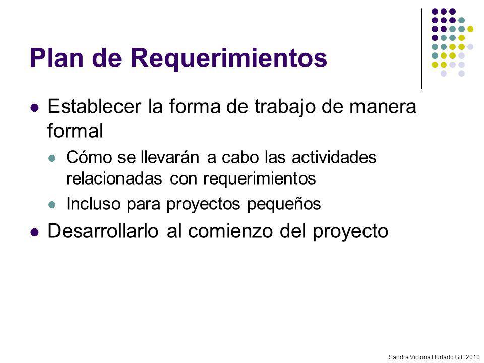 Sandra Victoria Hurtado Gil, 2010 Plan de Requerimientos Establecer la forma de trabajo de manera formal Cómo se llevarán a cabo las actividades relac