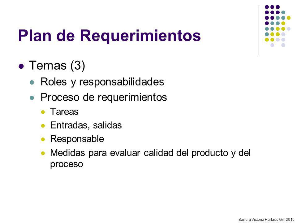 Sandra Victoria Hurtado Gil, 2010 Plan de Requerimientos Temas (3) Roles y responsabilidades Proceso de requerimientos Tareas Entradas, salidas Respon