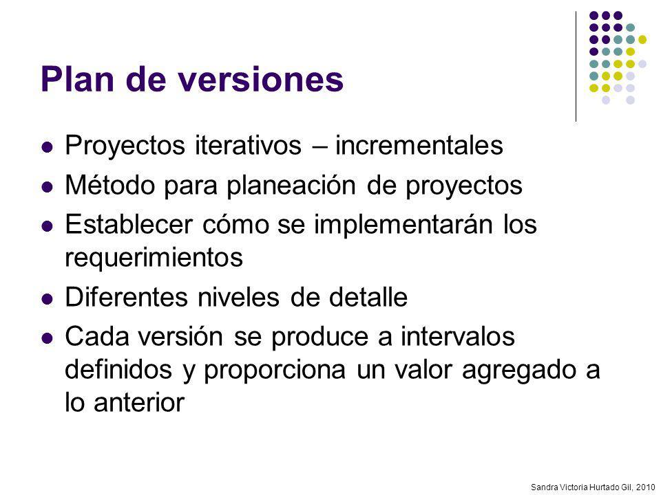 Sandra Victoria Hurtado Gil, 2010 Plan de versiones Proyectos iterativos – incrementales Método para planeación de proyectos Establecer cómo se implem