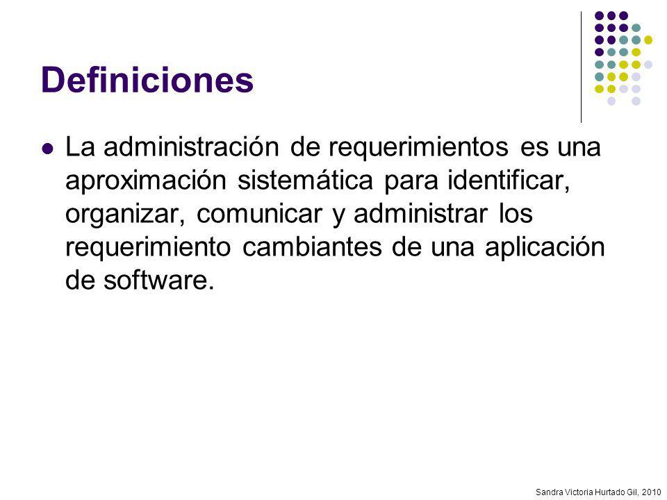 Sandra Victoria Hurtado Gil, 2010 Control de cambios Elementos involucrados Línea base de requerimientos Solicitud de cambio Análisis de impacto Orden de cambio Documentos de validación/verificación Comunicación de resultados
