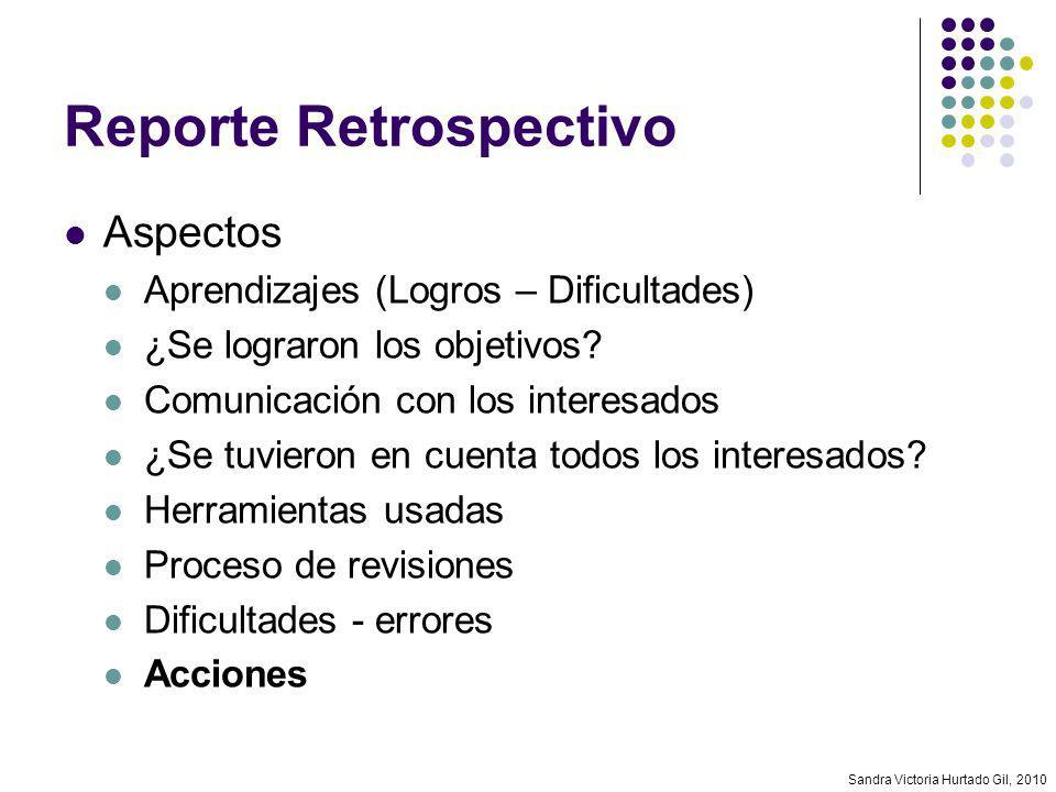 Sandra Victoria Hurtado Gil, 2010 Reporte Retrospectivo Aspectos Aprendizajes (Logros – Dificultades) ¿Se lograron los objetivos? Comunicación con los