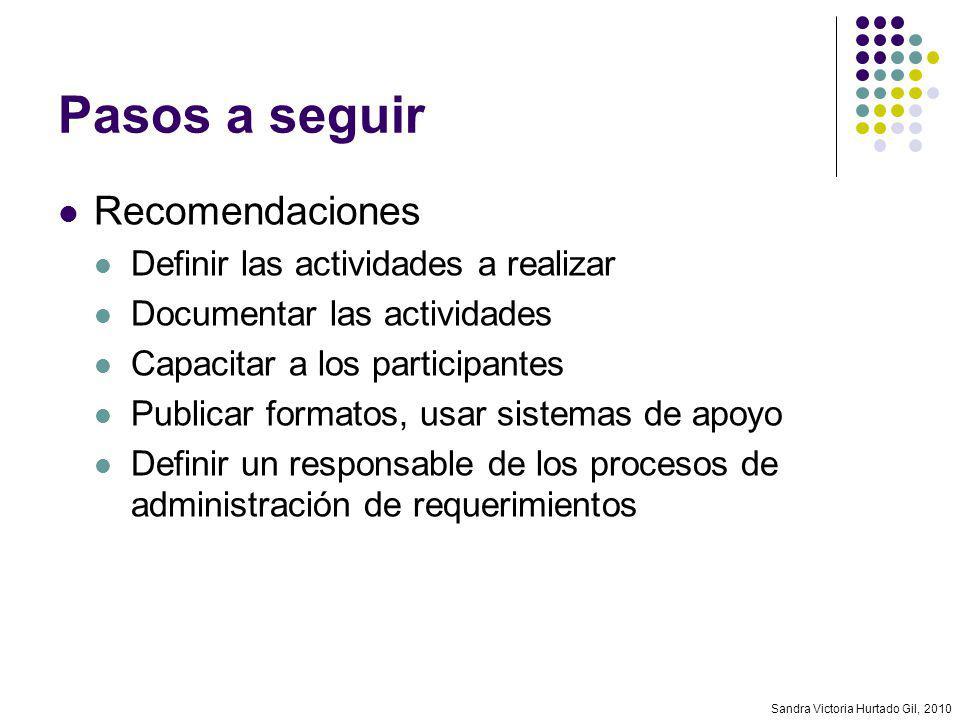 Sandra Victoria Hurtado Gil, 2010 Pasos a seguir Recomendaciones Definir las actividades a realizar Documentar las actividades Capacitar a los partici