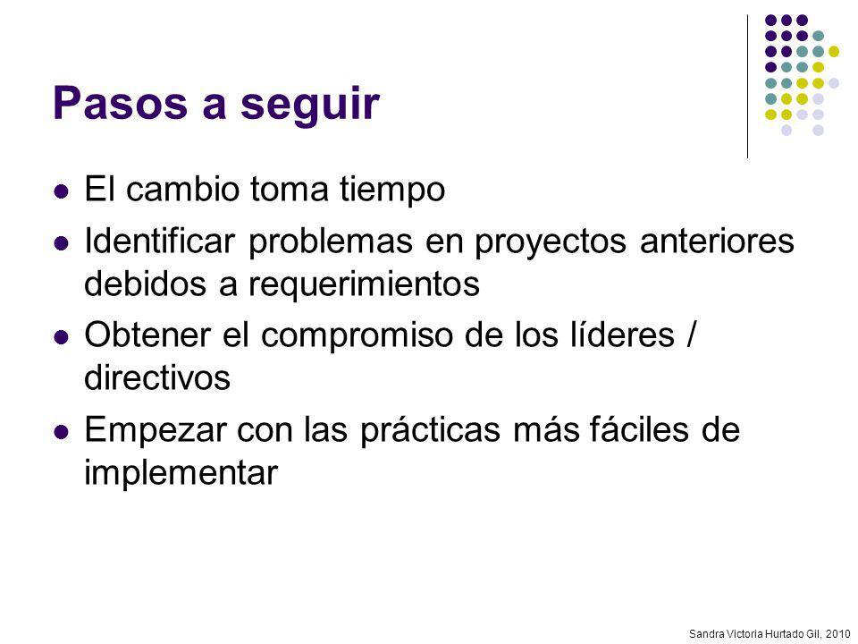 Sandra Victoria Hurtado Gil, 2010 Pasos a seguir El cambio toma tiempo Identificar problemas en proyectos anteriores debidos a requerimientos Obtener