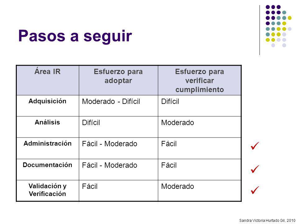 Sandra Victoria Hurtado Gil, 2010 Pasos a seguir Área IREsfuerzo para adoptar Esfuerzo para verificar cumplimiento Adquisición Moderado - DifícilDifíc