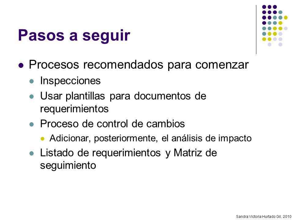 Sandra Victoria Hurtado Gil, 2010 Pasos a seguir Procesos recomendados para comenzar Inspecciones Usar plantillas para documentos de requerimientos Pr