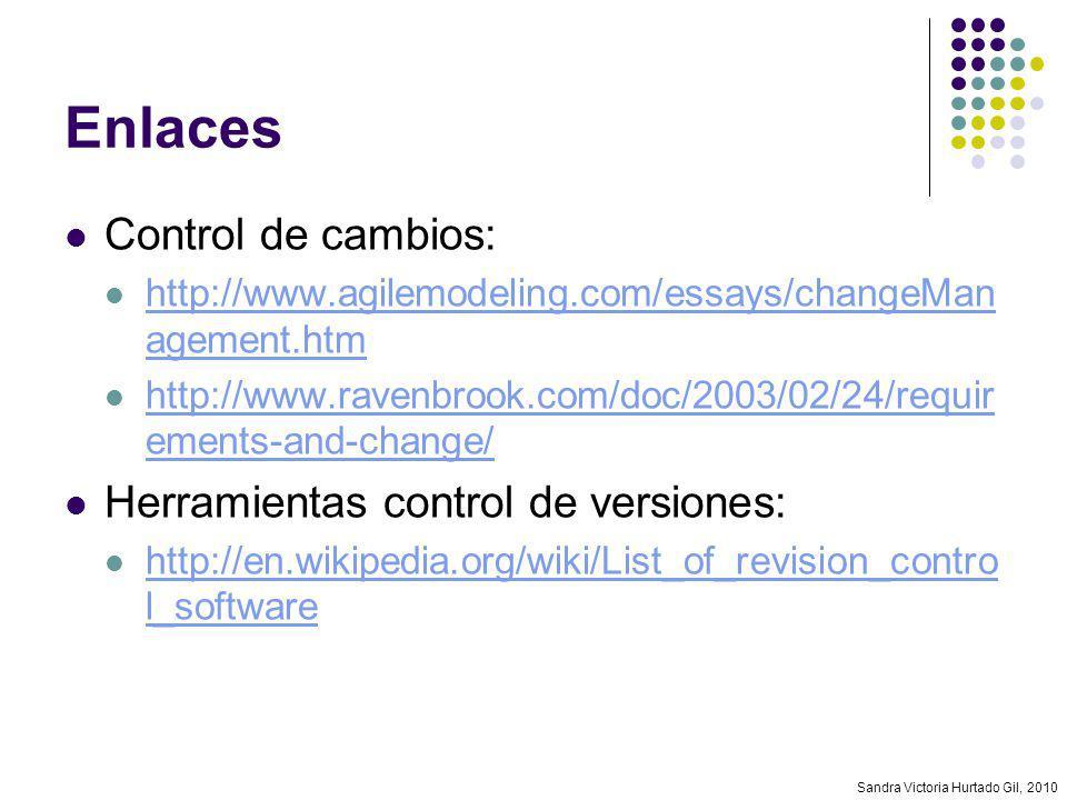 Sandra Victoria Hurtado Gil, 2010 Enlaces Control de cambios: http://www.agilemodeling.com/essays/changeMan agement.htm http://www.agilemodeling.com/e