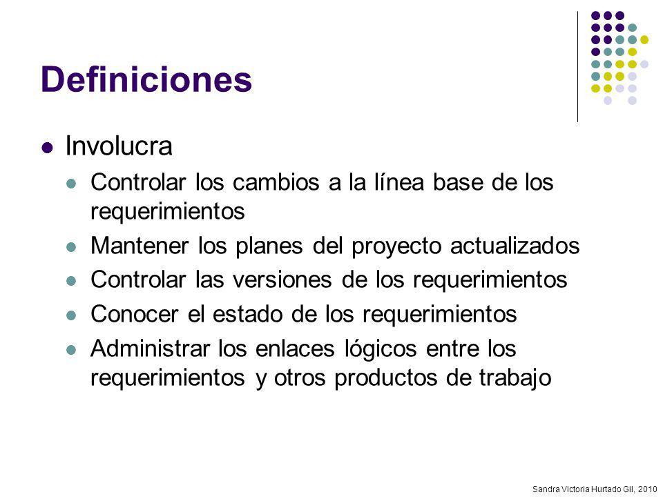 Sandra Victoria Hurtado Gil, 2010 Definiciones Involucra Controlar los cambios a la línea base de los requerimientos Mantener los planes del proyecto