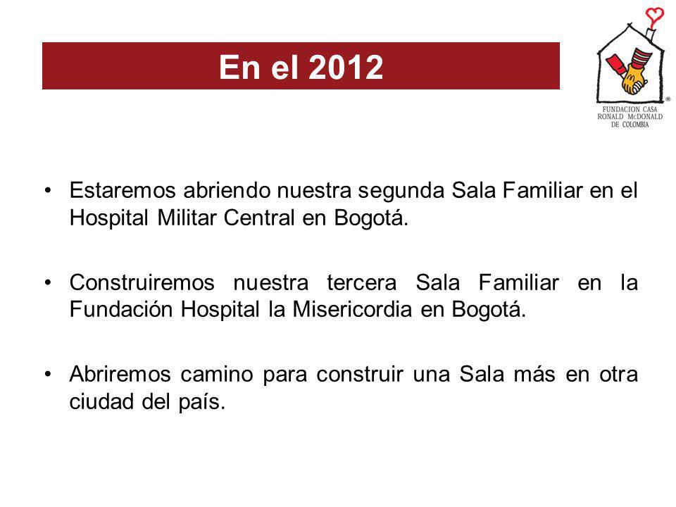 Estaremos abriendo nuestra segunda Sala Familiar en el Hospital Militar Central en Bogotá. Construiremos nuestra tercera Sala Familiar en la Fundación