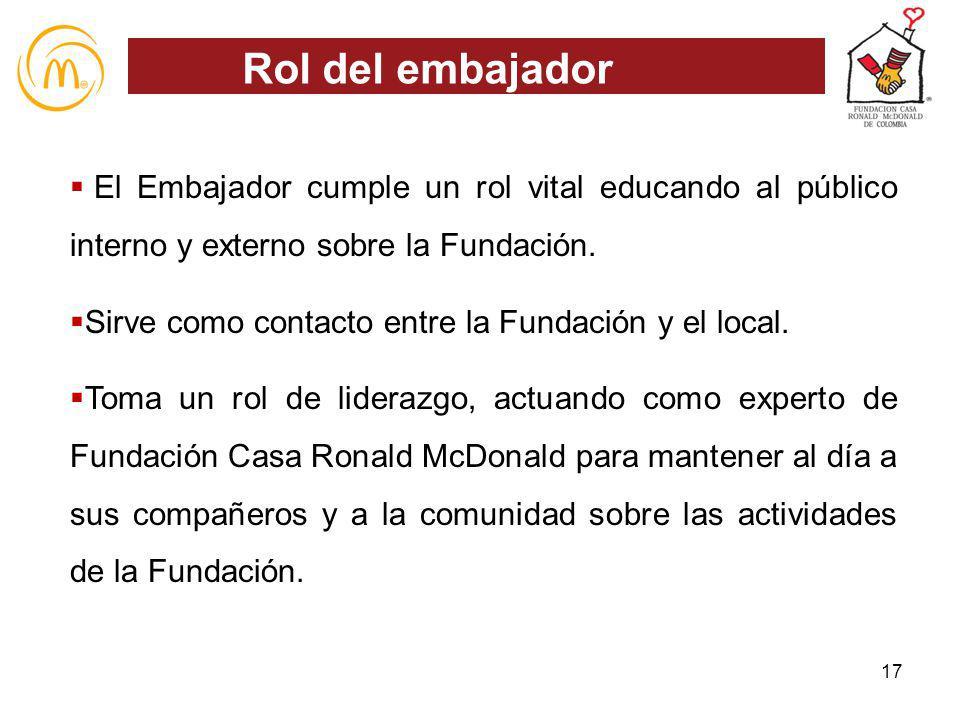 El Embajador cumple un rol vital educando al público interno y externo sobre la Fundación. Sirve como contacto entre la Fundación y el local. Toma un
