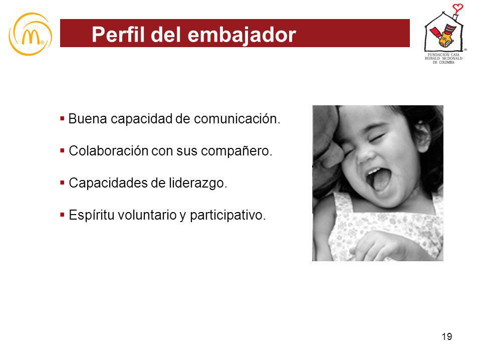 Buena capacidad de comunicación. Colaboración con sus compañero. Capacidades de liderazgo. Espíritu voluntario y participativo. Perfil del embajador 1