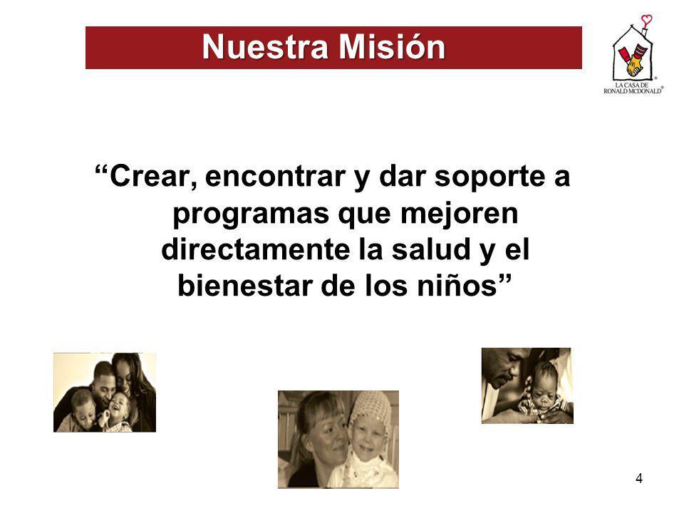 4 Nuestra Misión Crear, encontrar y dar soporte a programas que mejoren directamente la salud y el bienestar de los niños