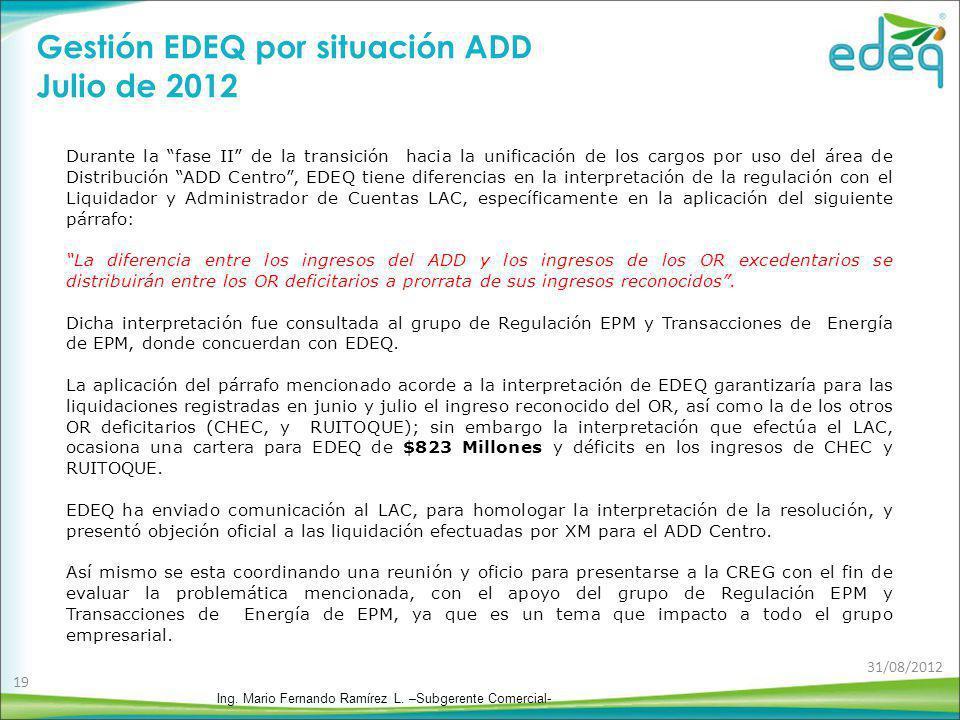 Gestión EDEQ por situación ADD Julio de 2012 Durante la fase II de la transición hacia la unificación de los cargos por uso del área de Distribución A
