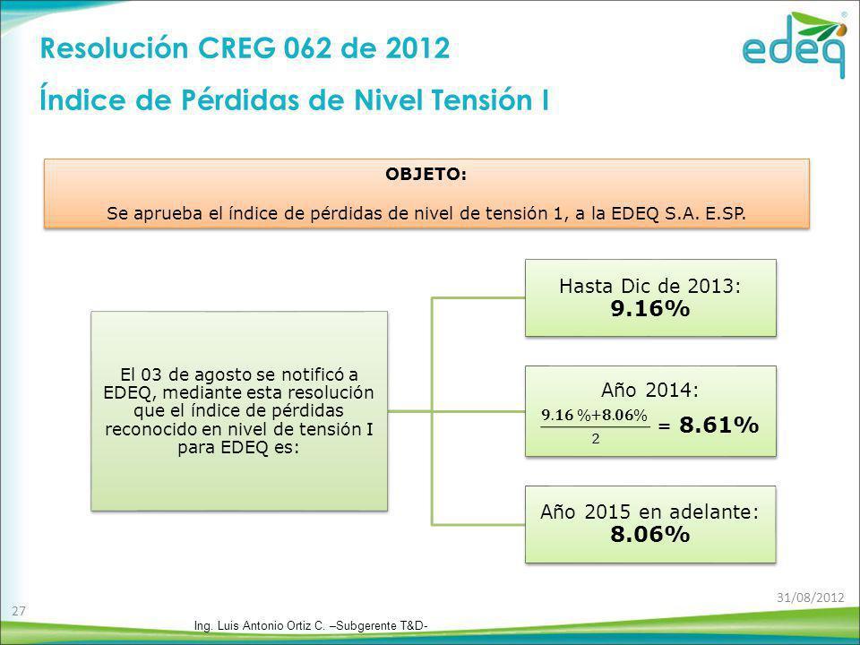 Resolución CREG 062 de 2012 Índice de Pérdidas de Nivel Tensión I OBJETO: Se aprueba el índice de pérdidas de nivel de tensión 1, a la EDEQ S.A. E.SP.