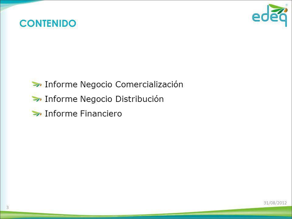 Informe Negocio Comercialización Informe Negocio Distribución Informe Financiero CONTENIDO 3 31/08/2012